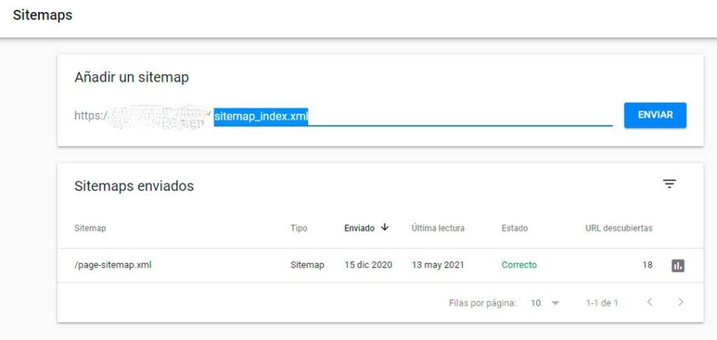 enviar sitemap a Google search console